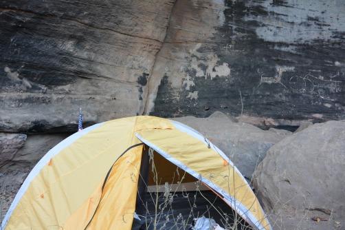Camping under petroglyphs