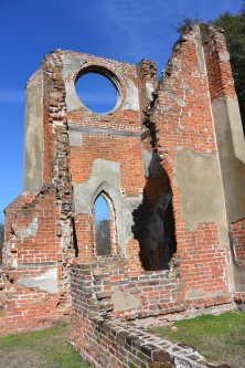Church destroyed by the Civil War. Lead window frames from the stained glass were repurposed as bullets.